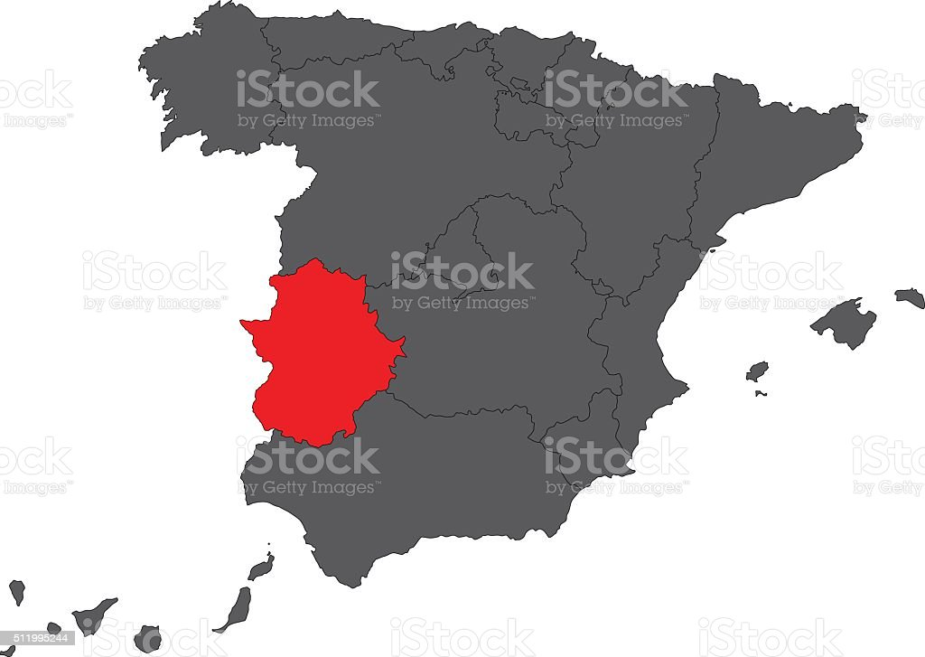 Extremadura red map on gray Spain map vector vector art illustration