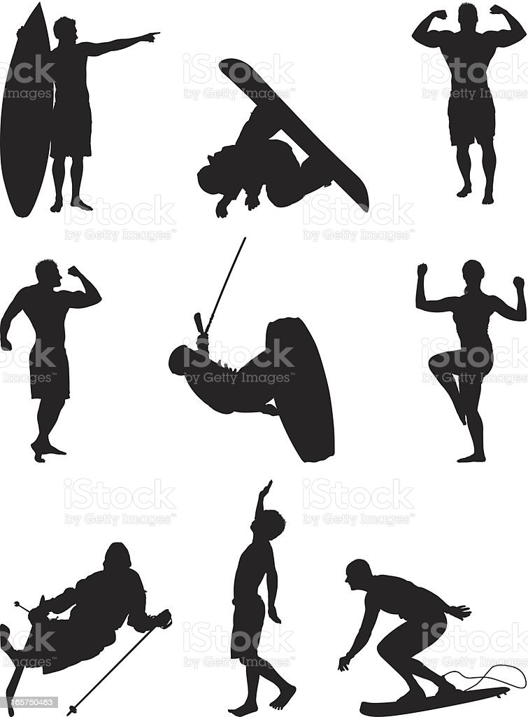 Extreme athletes and action packed sports royalty-free stock vector art
