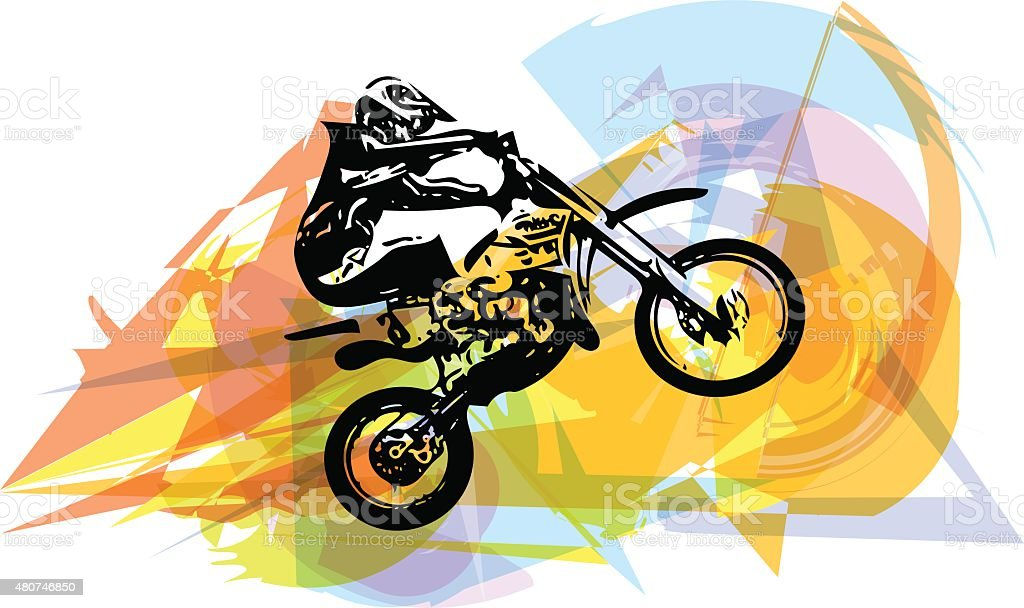 Extreme motocross racer by motorcycle vector art illustration