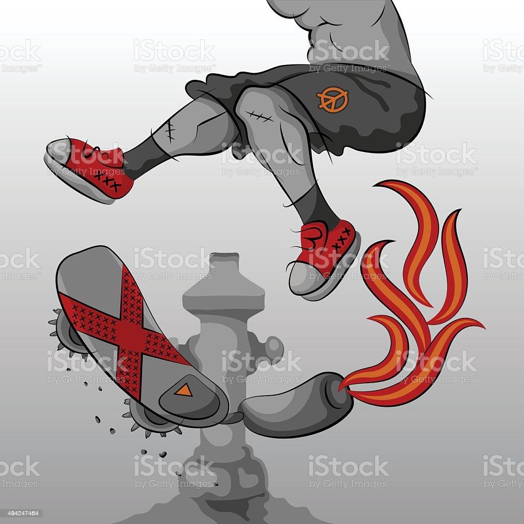 Extreme Skateboarding vector art illustration
