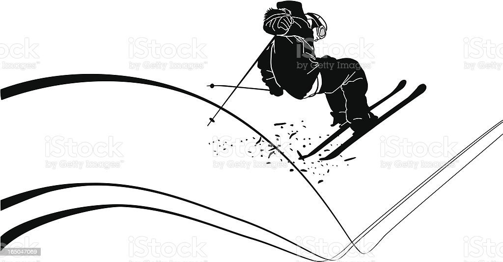 Extreme Skier bombing the steeps royalty-free stock vector art