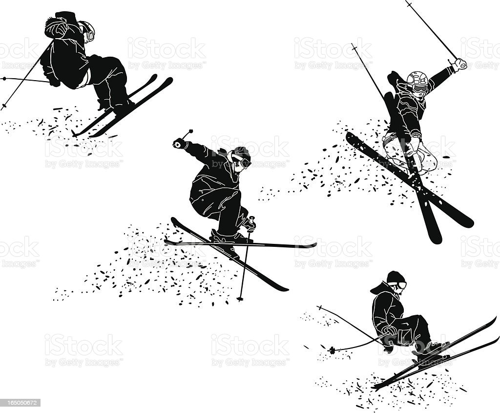 Extreme Skiers Getting Big Air royalty-free stock vector art