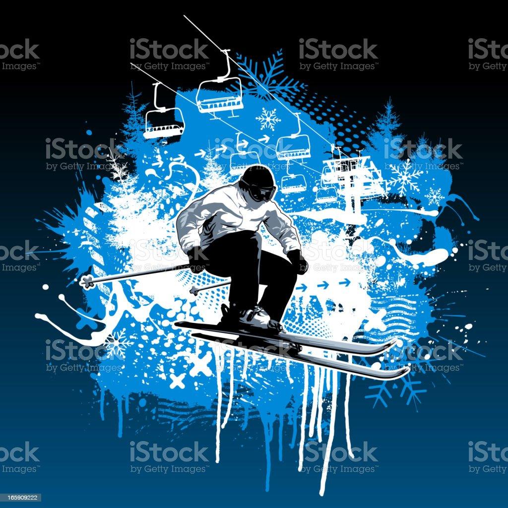 Extreme Skiing Grunge Design royalty-free stock vector art