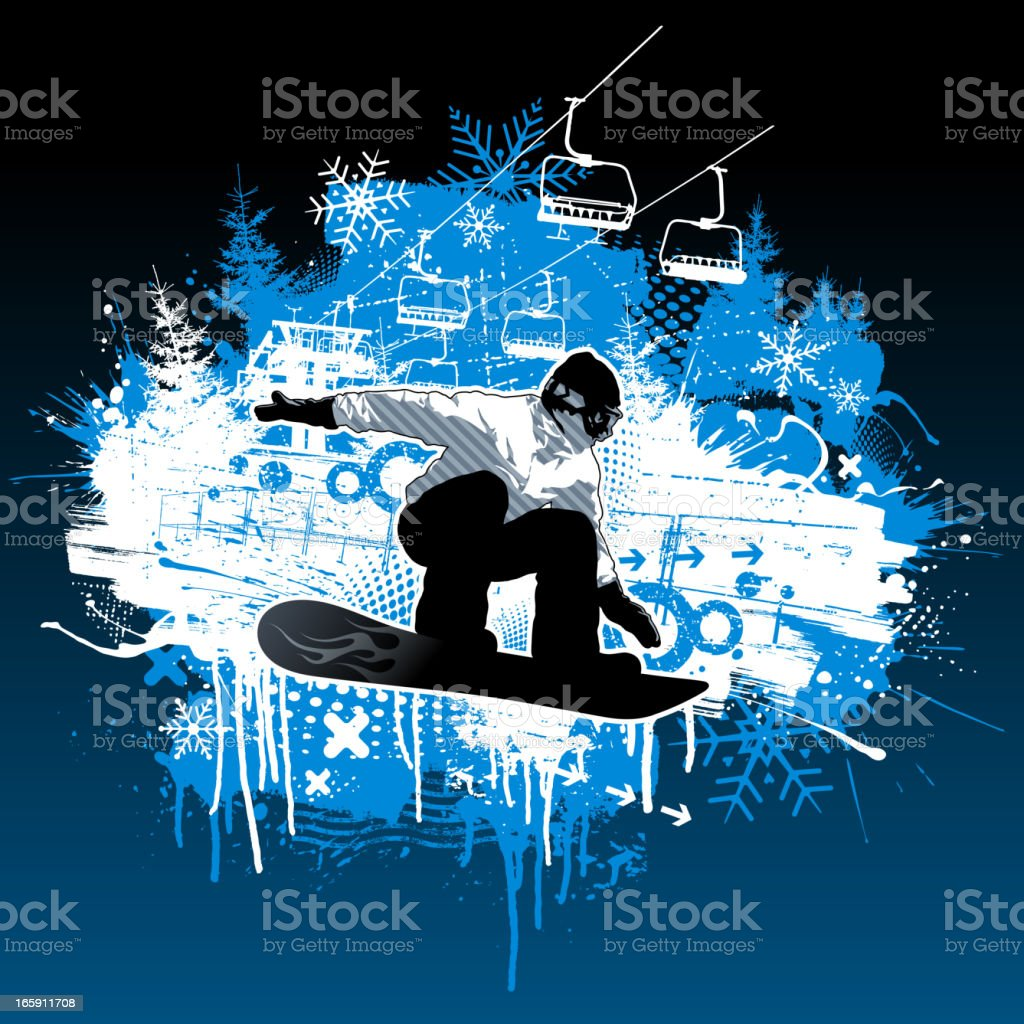 Extreme Snowboarding Grunge Design vector art illustration