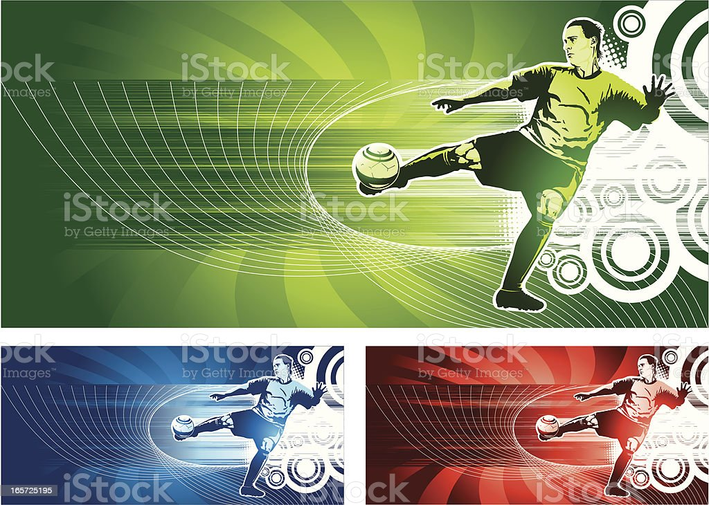 Extreme soccer volley royalty-free stock vector art