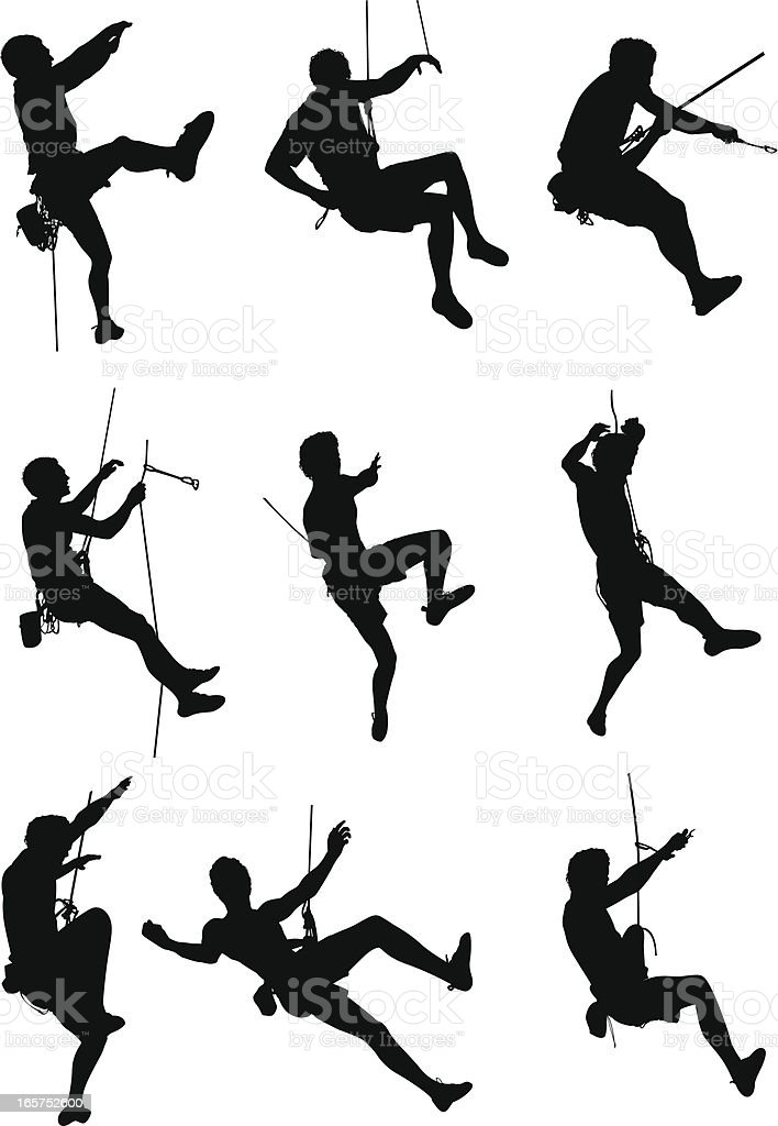 Extreme sport rock climbing vector art illustration