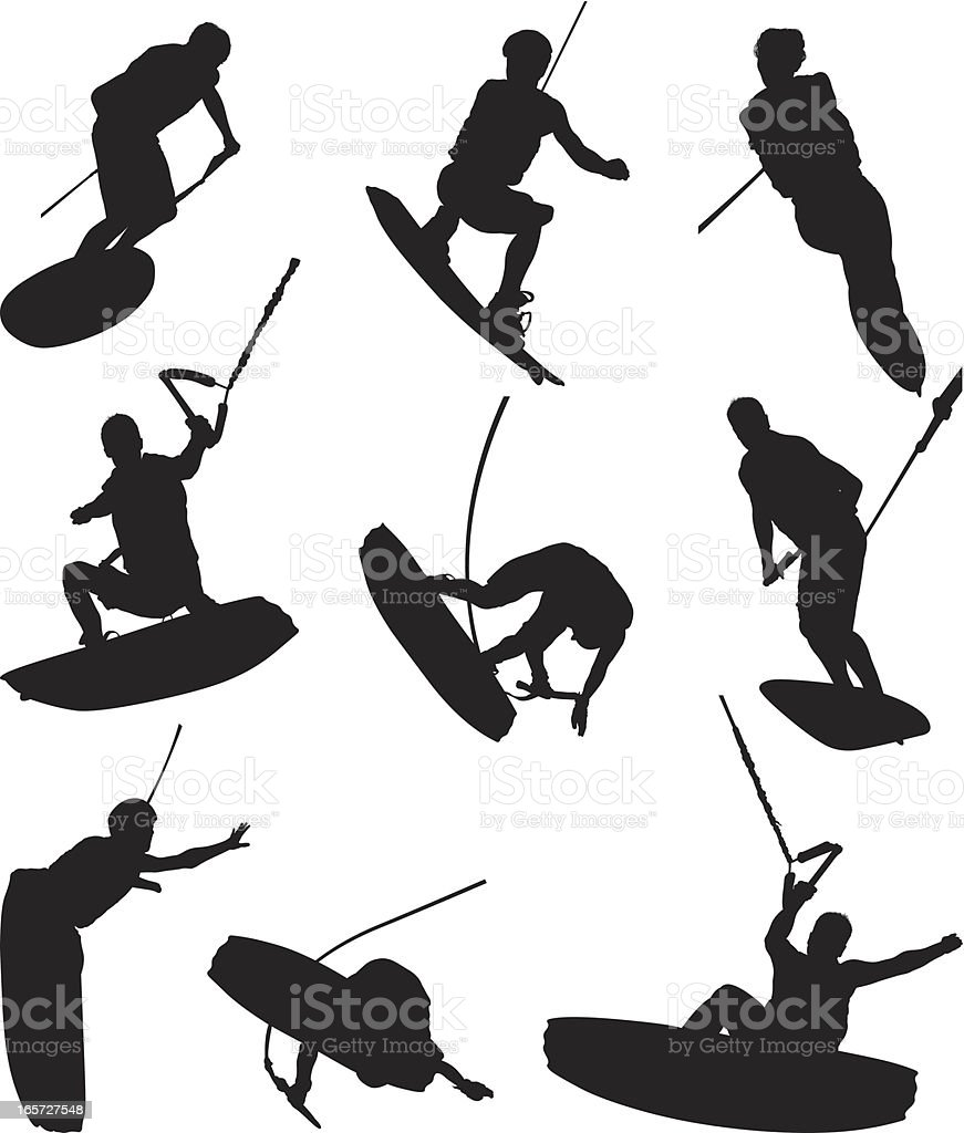 Extreme sport wake boarding royalty-free stock vector art