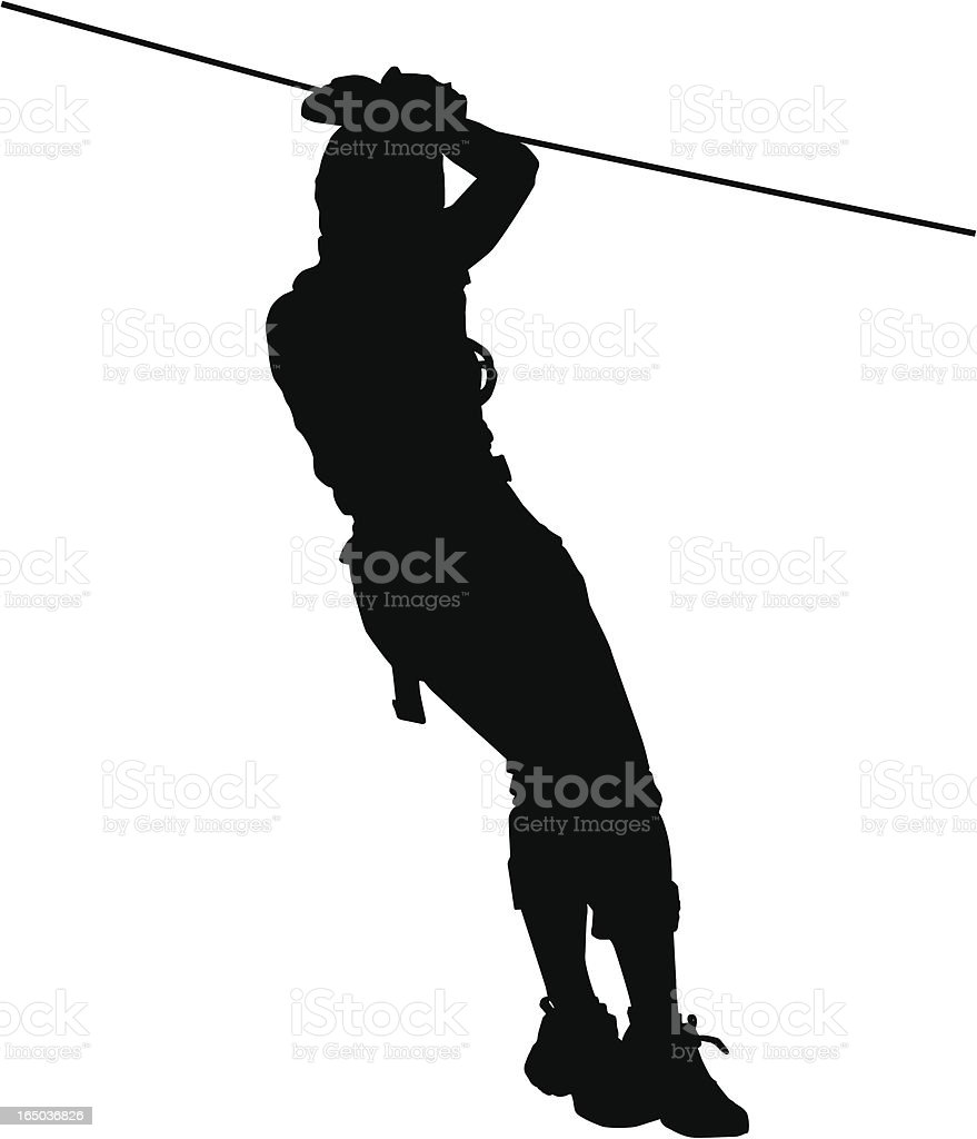 Extreme sport Zip Line vector art illustration