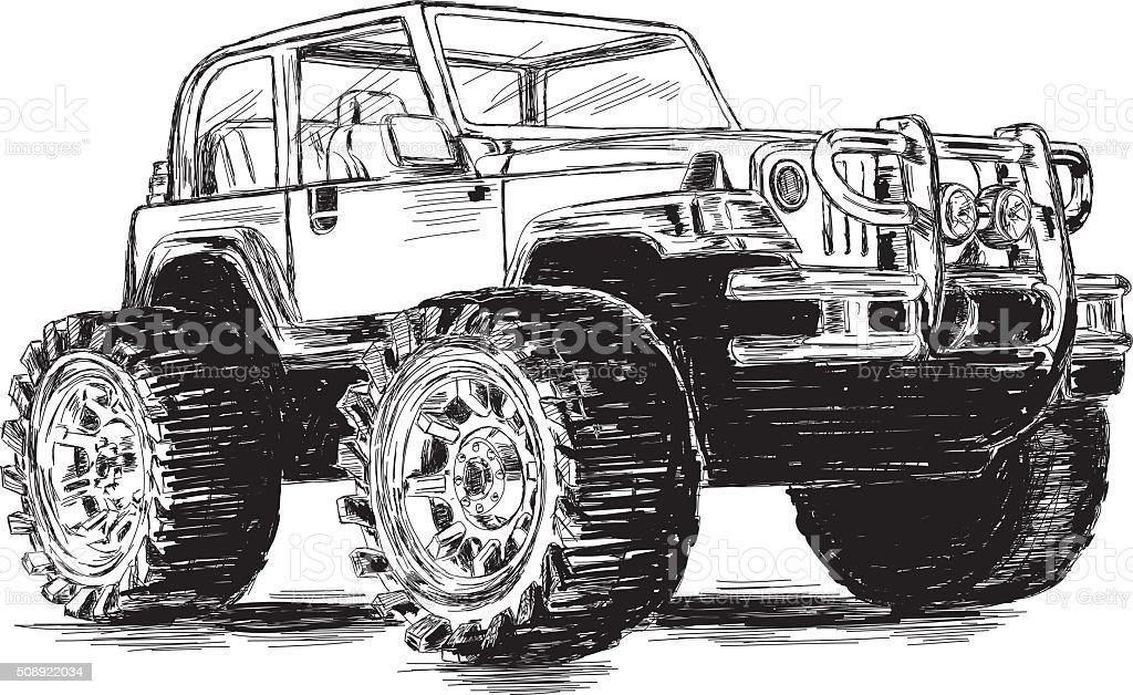 Extreme Sports - 4x4 Sports Utility Vehicle SUV Vector Illustration vector art illustration