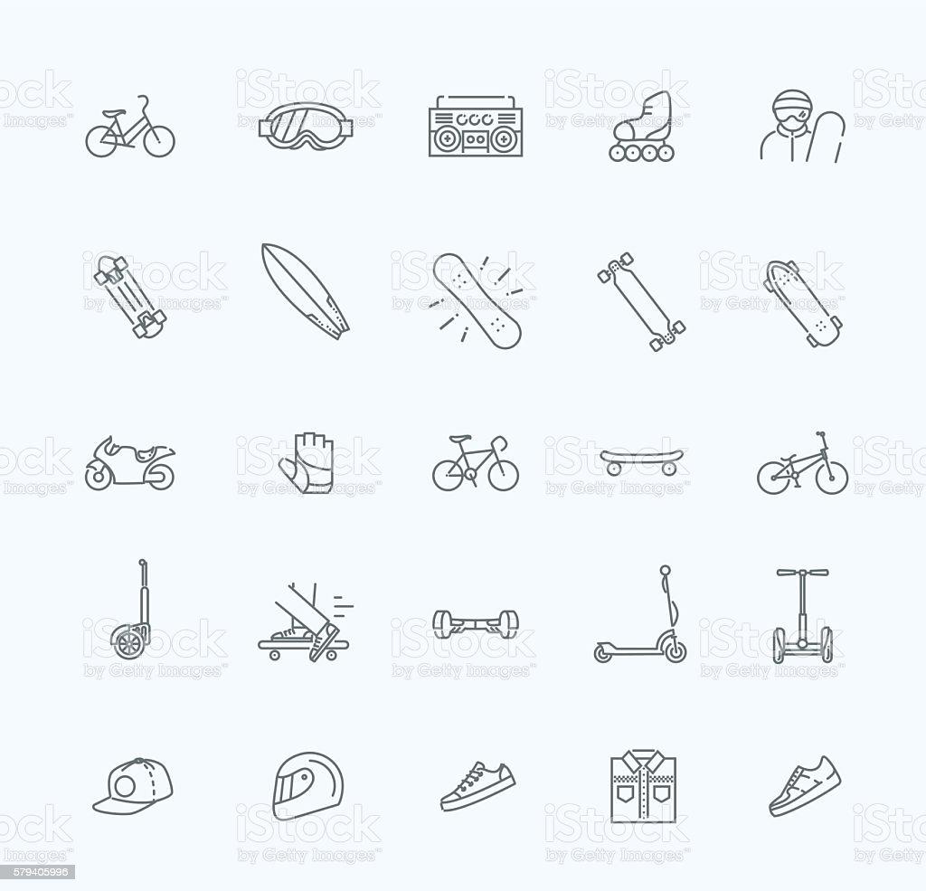 extreme sports icon set vector art illustration