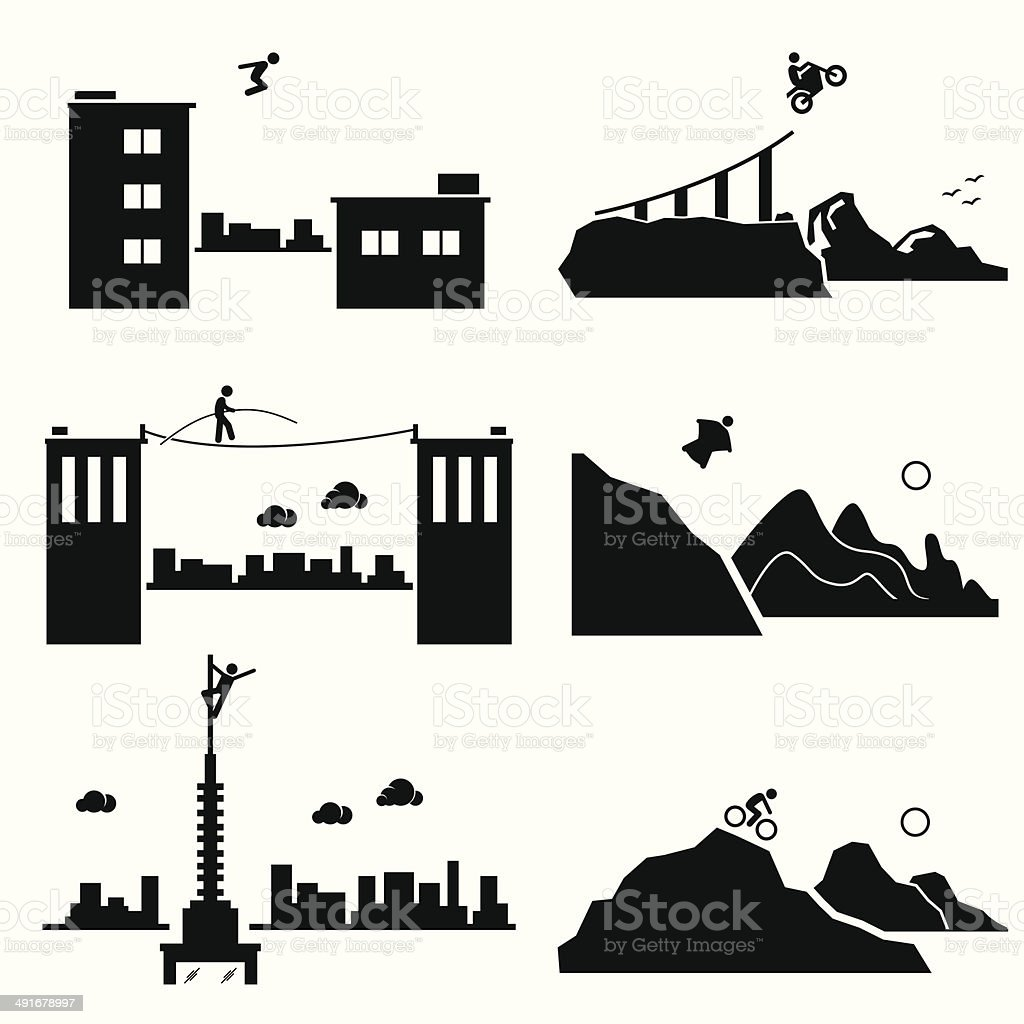 Extreme Sports Pictogram Icon Cliparts Set 1 vector art illustration