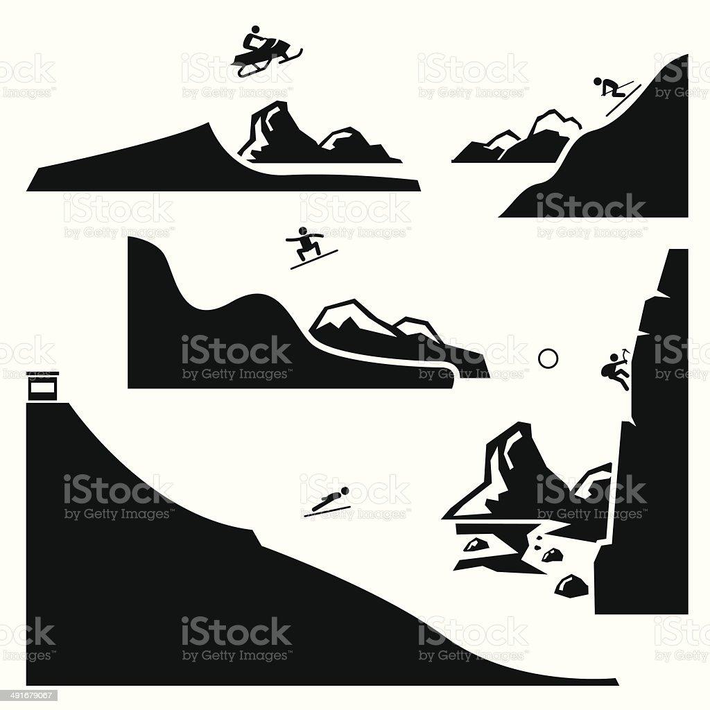 Extreme Sports Pictogram Icon Cliparts Set 4 vector art illustration