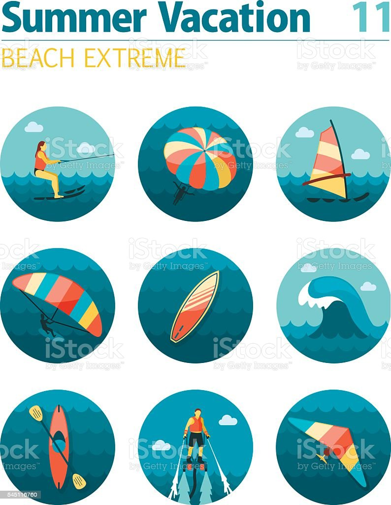 Extreme Water Sport icon set. Summer. Vacation vector art illustration