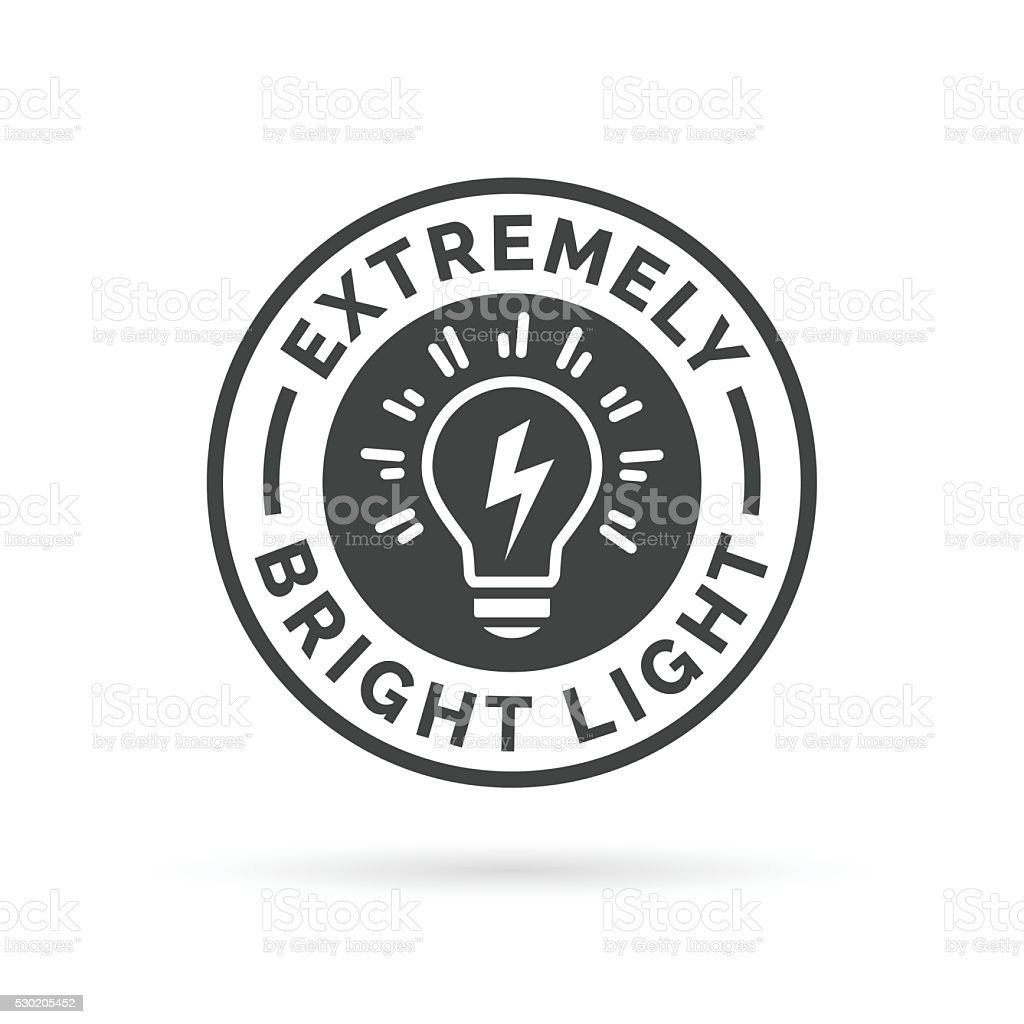 Extremely bright and powerful light bulb icon symbol design. vector art illustration