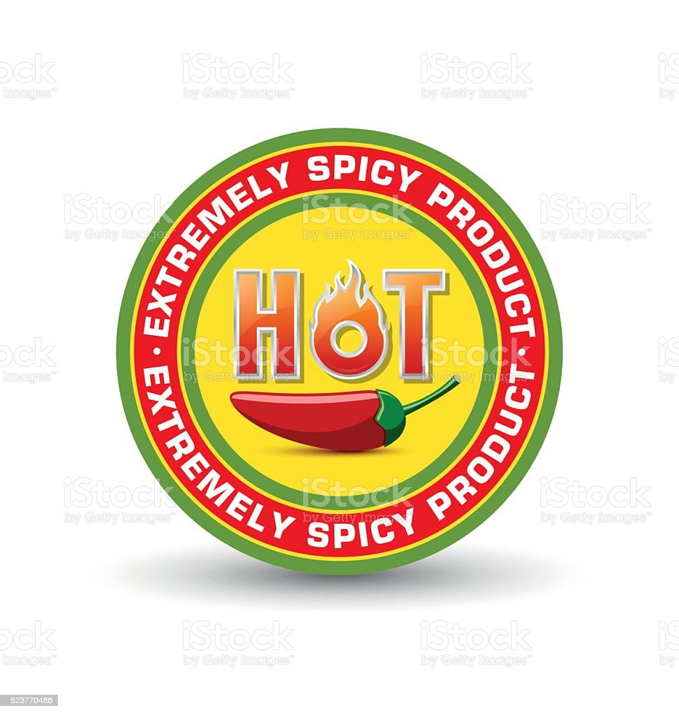 Extremely spicy product badge with red chilli pepper vector art illustration