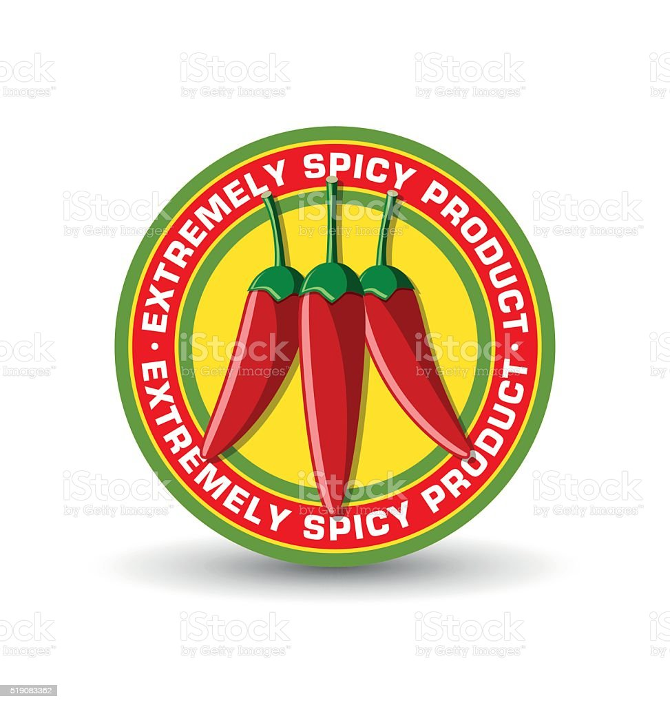 Extremely spicy product badge with three red chilli peppers vector art illustration