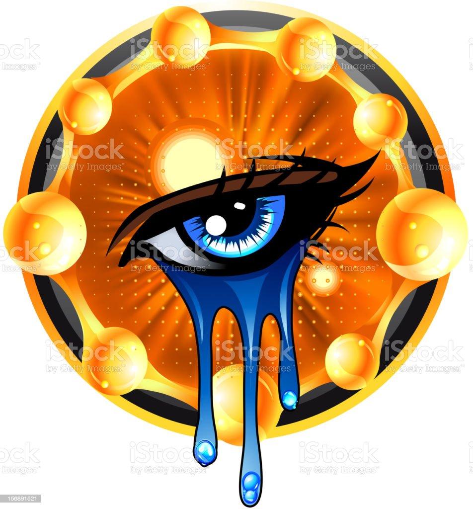 Eye and tears emblem vector art illustration