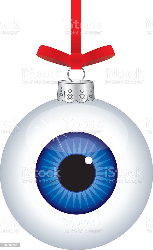 Eye Ball Christmas Ornament vector art illustration