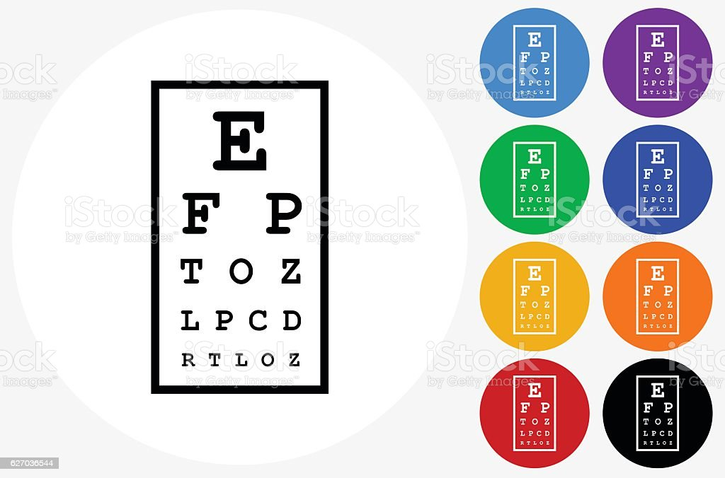 Eye Chart Icon on Flat Color Circle Buttons vector art illustration
