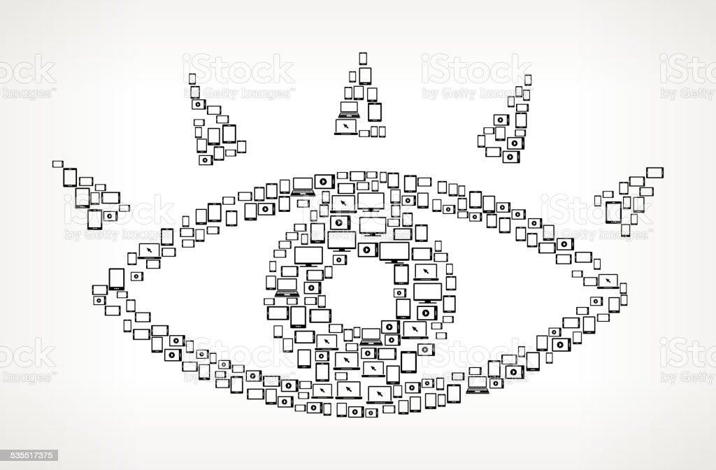 Eye Digital Screen and Smart-phone royalty free vector art vector art illustration