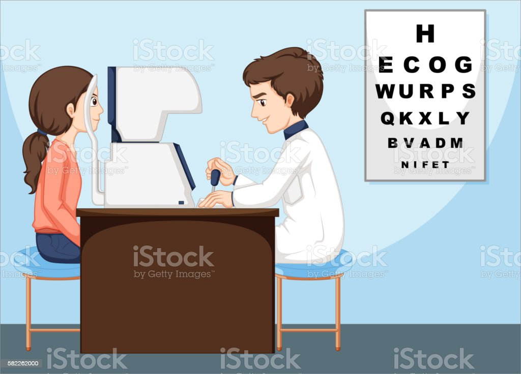 Eye doctor and patient in the clinic vector art illustration