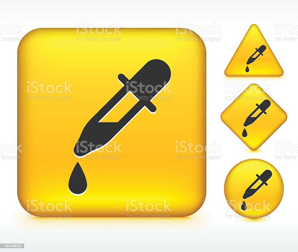 Eye Dropper on Yellow Buttons vector art illustration