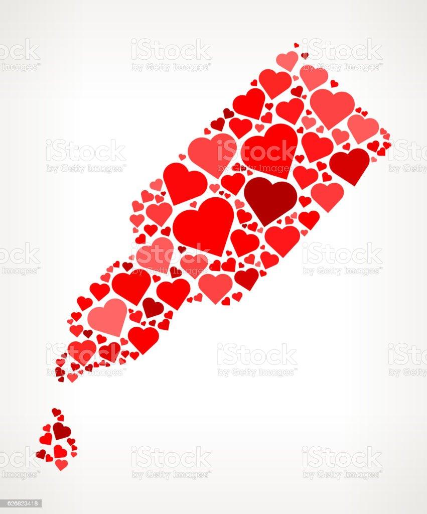 Eye Dropper Red Hearts Love Pattern vector art illustration