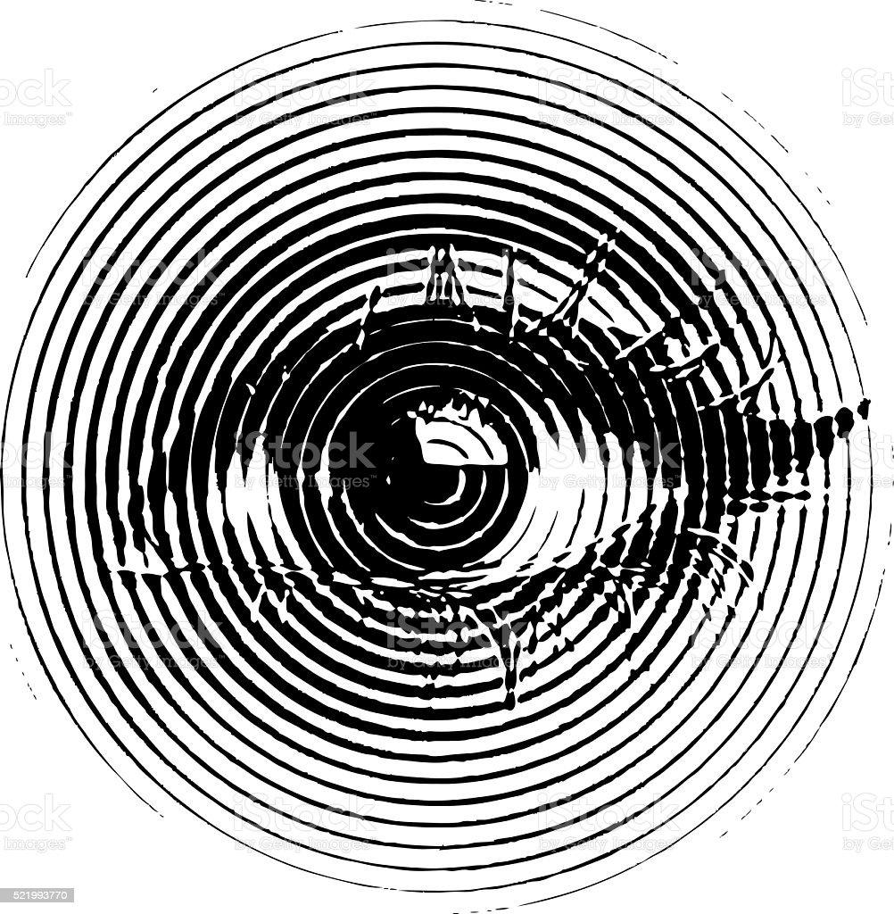 Eye, engraving illustration vector art illustration