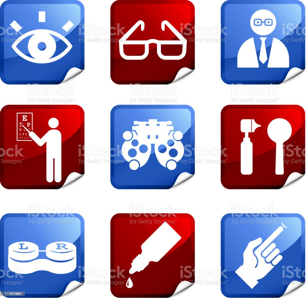 eye exam and optometry royalty free vector icon set stickers royalty-free stock vector art