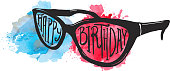 Eye glasses with Happy Birthday hand lettering design on watercolor