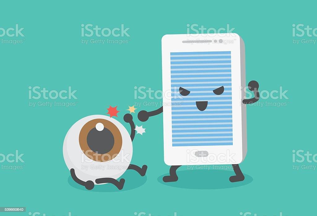 Eye have been beaten from mobile phone. vector art illustration