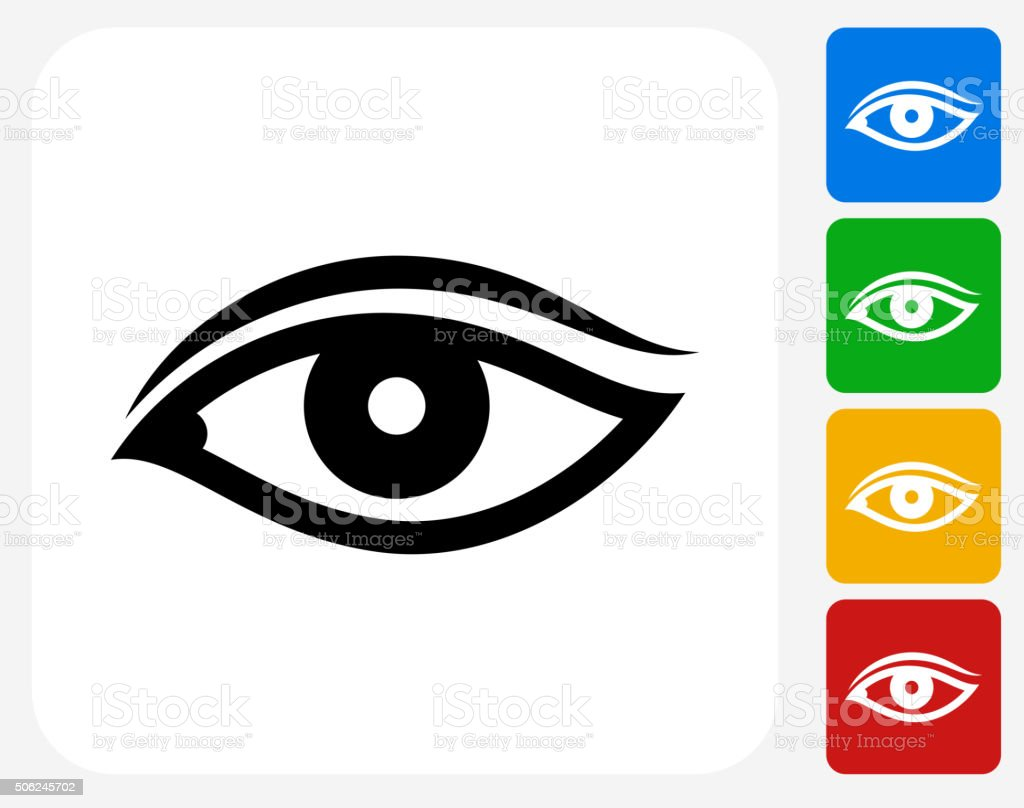 Eye Icon Flat Graphic Design vector art illustration