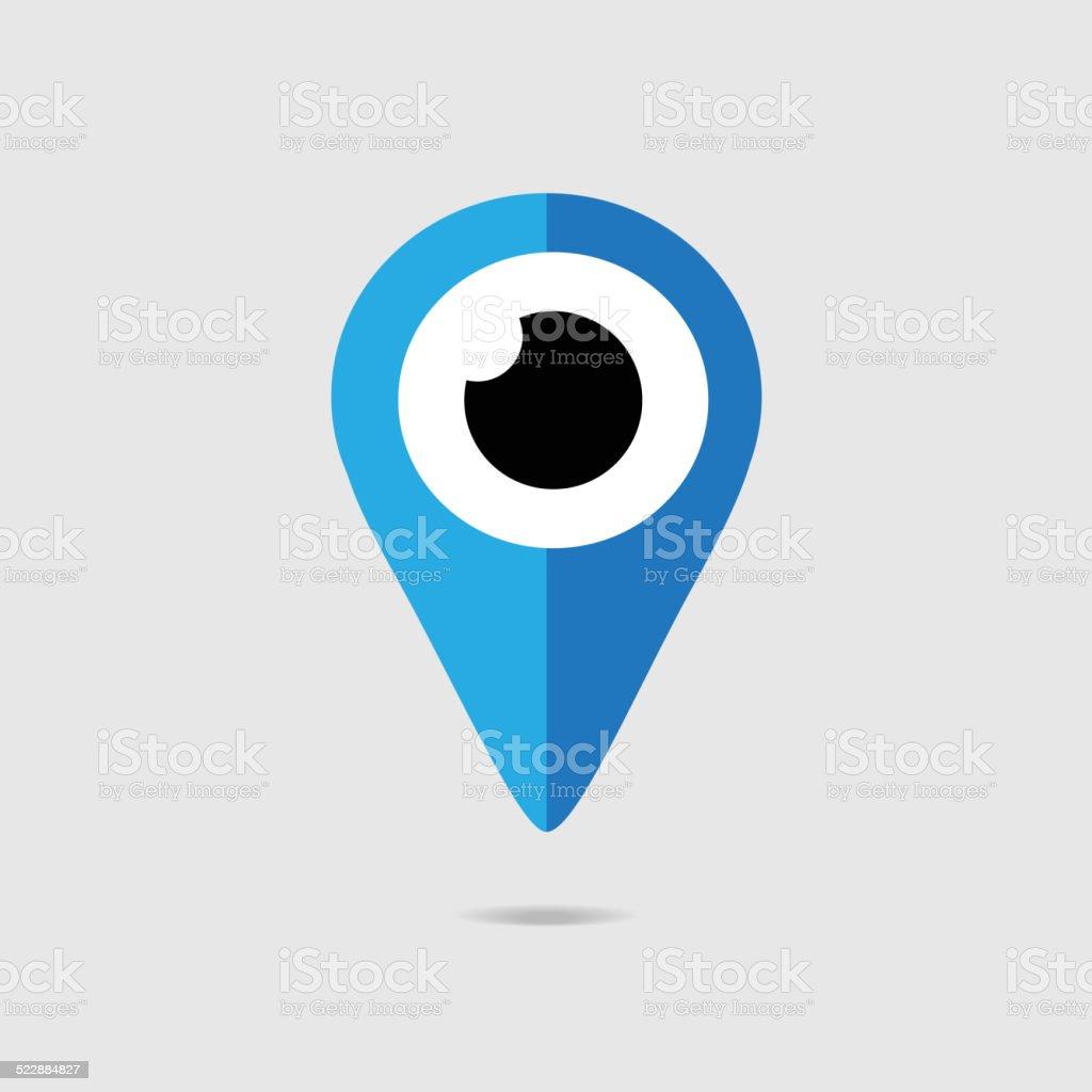 Eye icon GPS vector art illustration