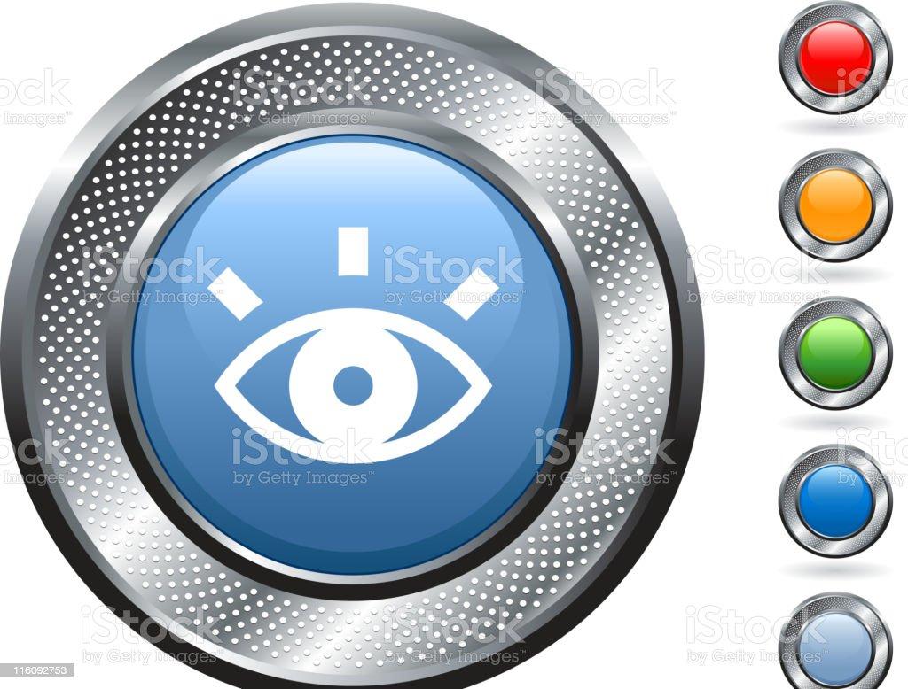 eye icon on button with metallic border vector art illustration