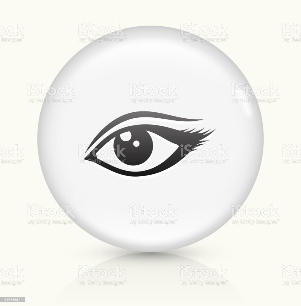 Eye icon on white round vector button vector art illustration