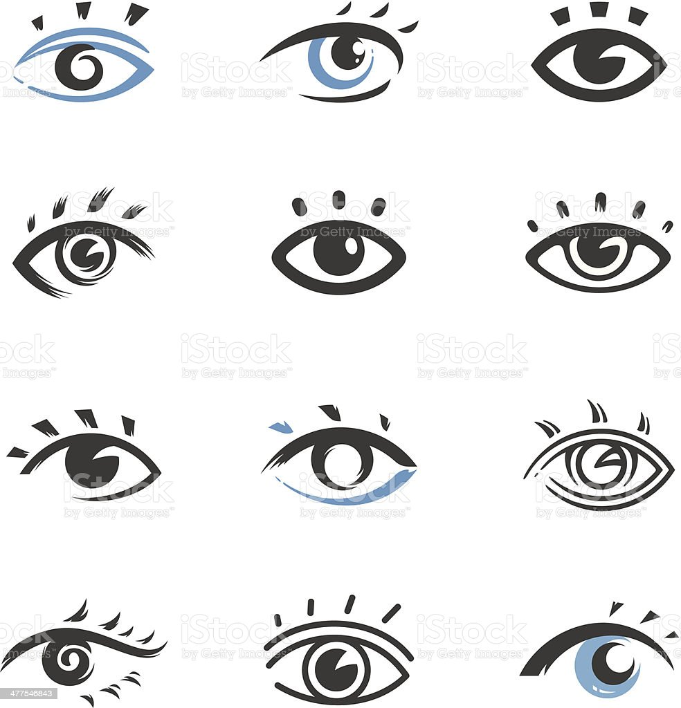 Eye icons vector art illustration