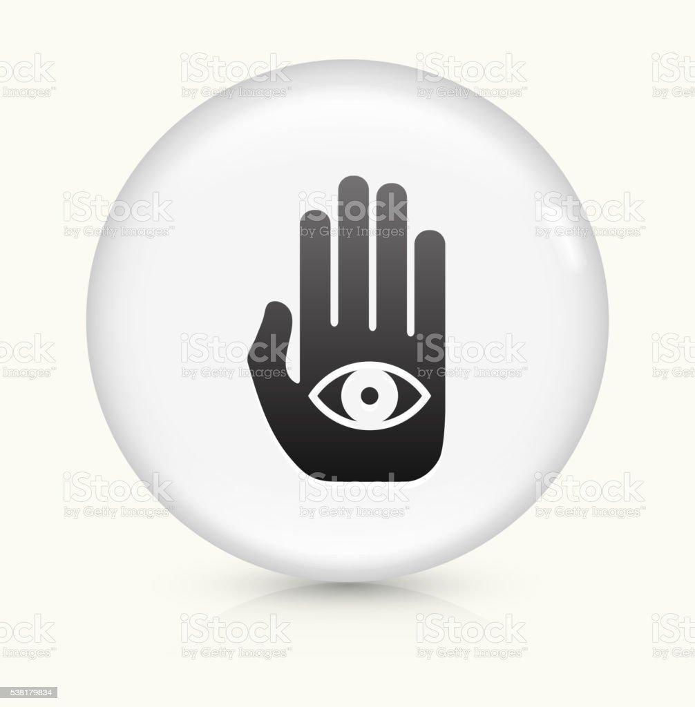Eye in Hand icon on white round vector button vector art illustration