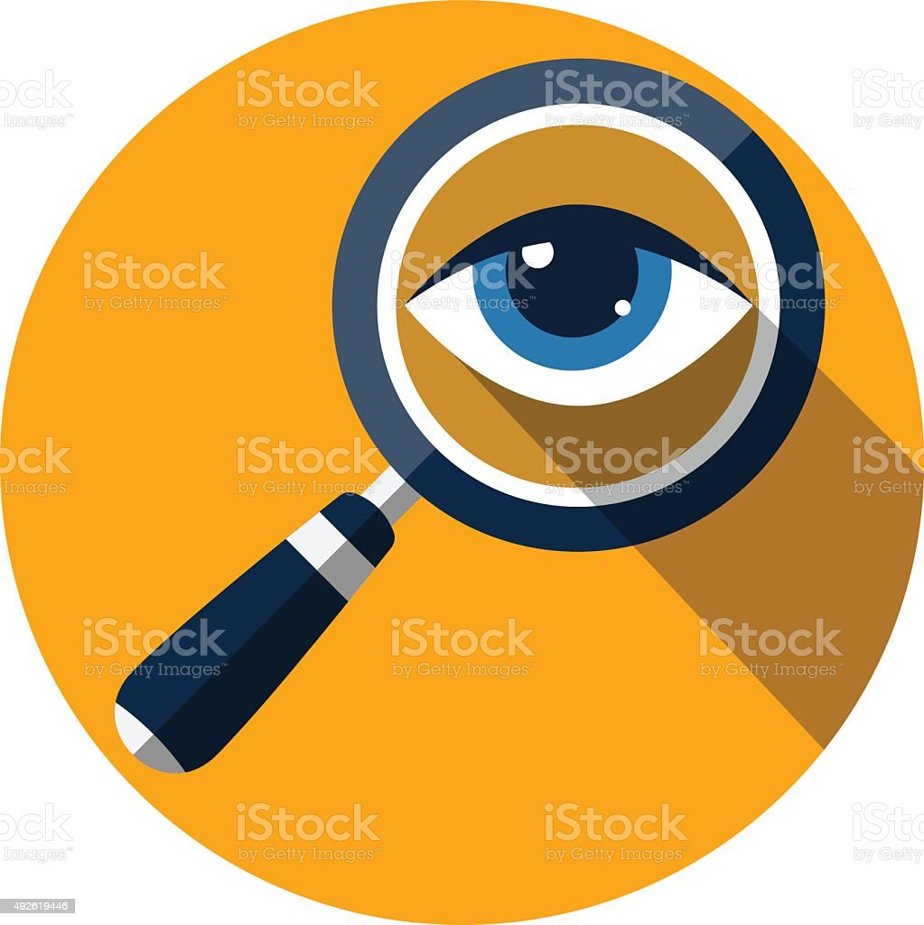 Eye in Magnification .Flat Icon vector art illustration