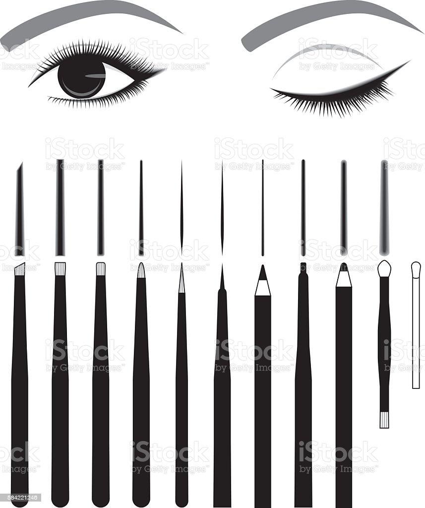 Eye makeup eyeliner tool vector art illustration
