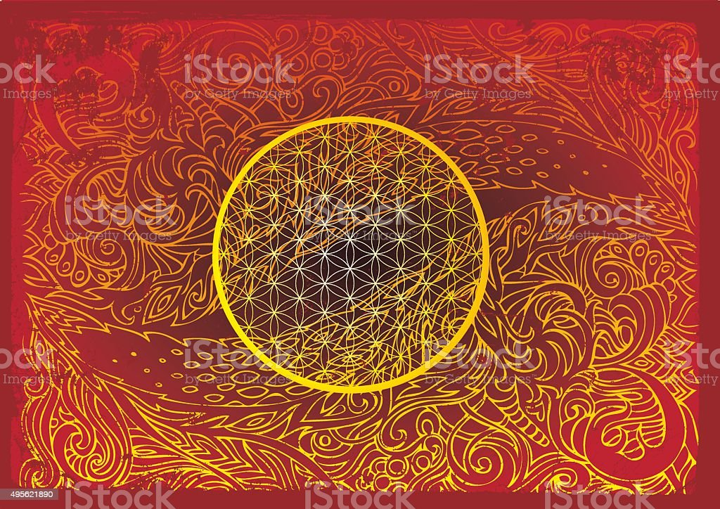 eye of the dragon and a flower of life vector art illustration