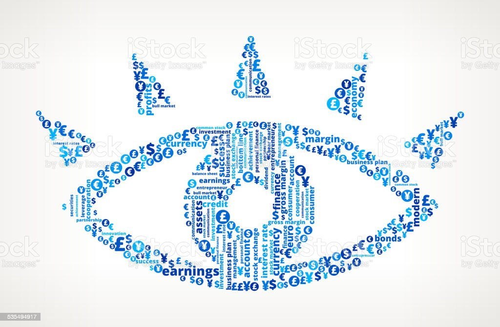 Eye on Business and Finance Word Cloud vector art illustration