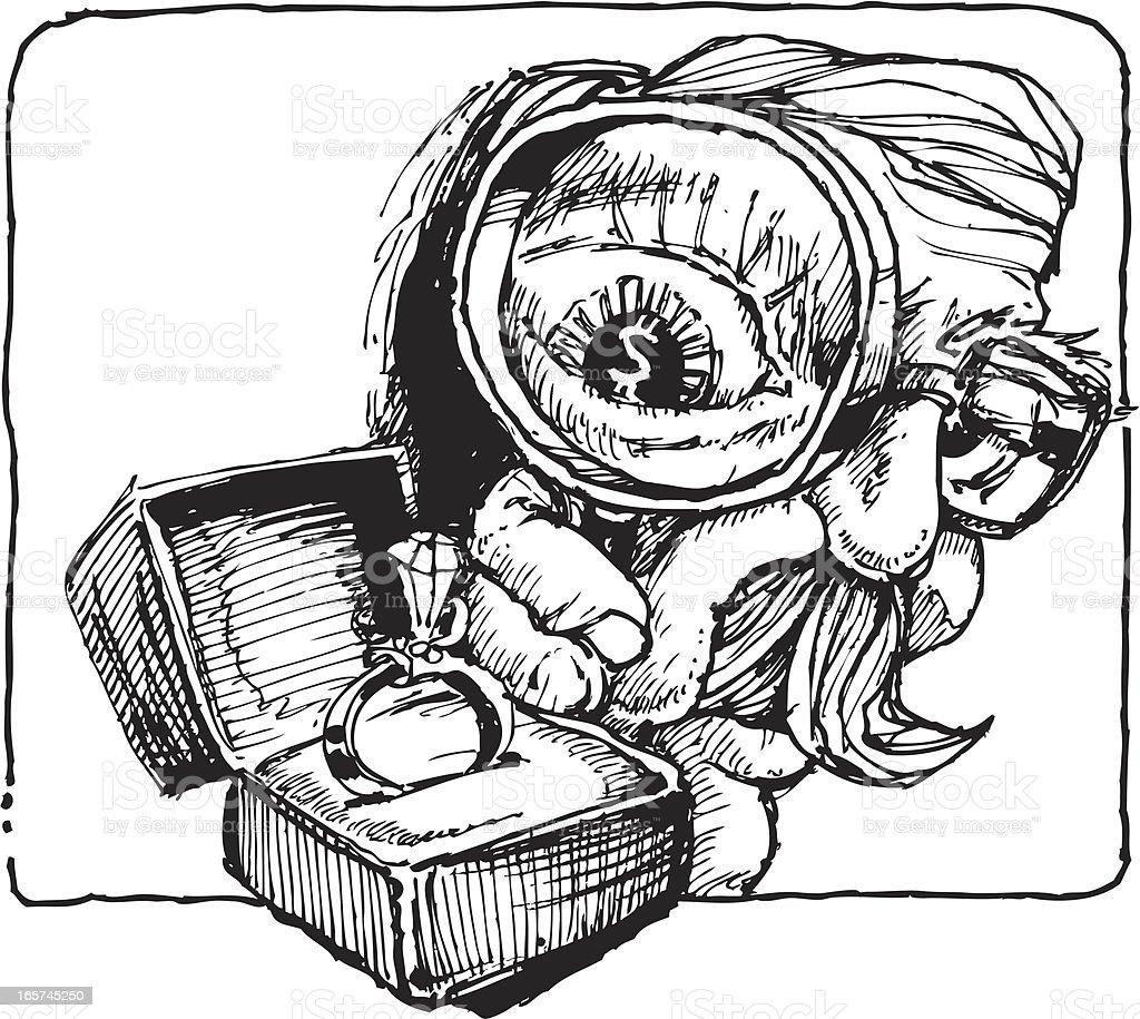 Eye on perosnal Assets vector art illustration