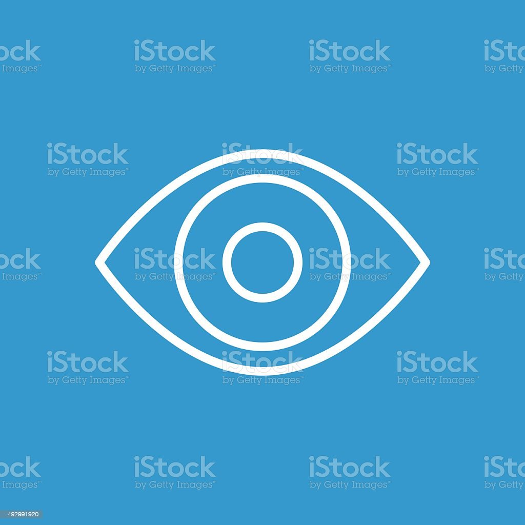 eye outline icon, isolated, white on the blue background vector art illustration