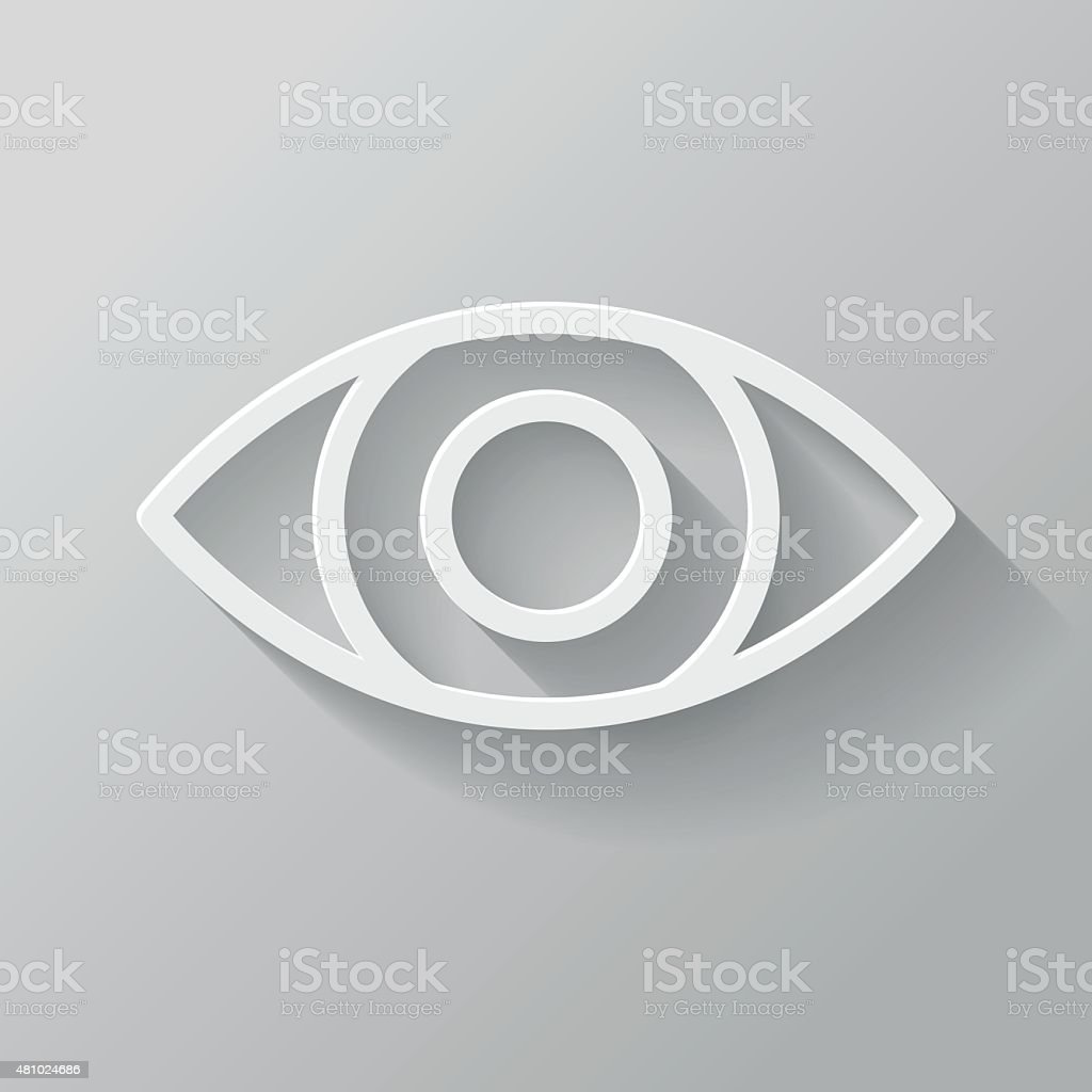 Eye Paper Thin Line Interface Icon With Long Shadow vector art illustration