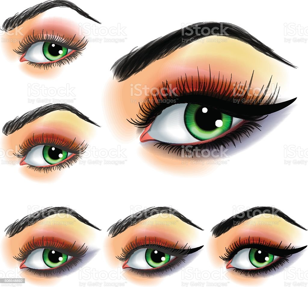 Eye shadow make up step by step vector art illustration