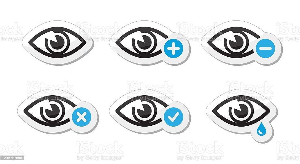 Eye sight icons set - vector vector art illustration
