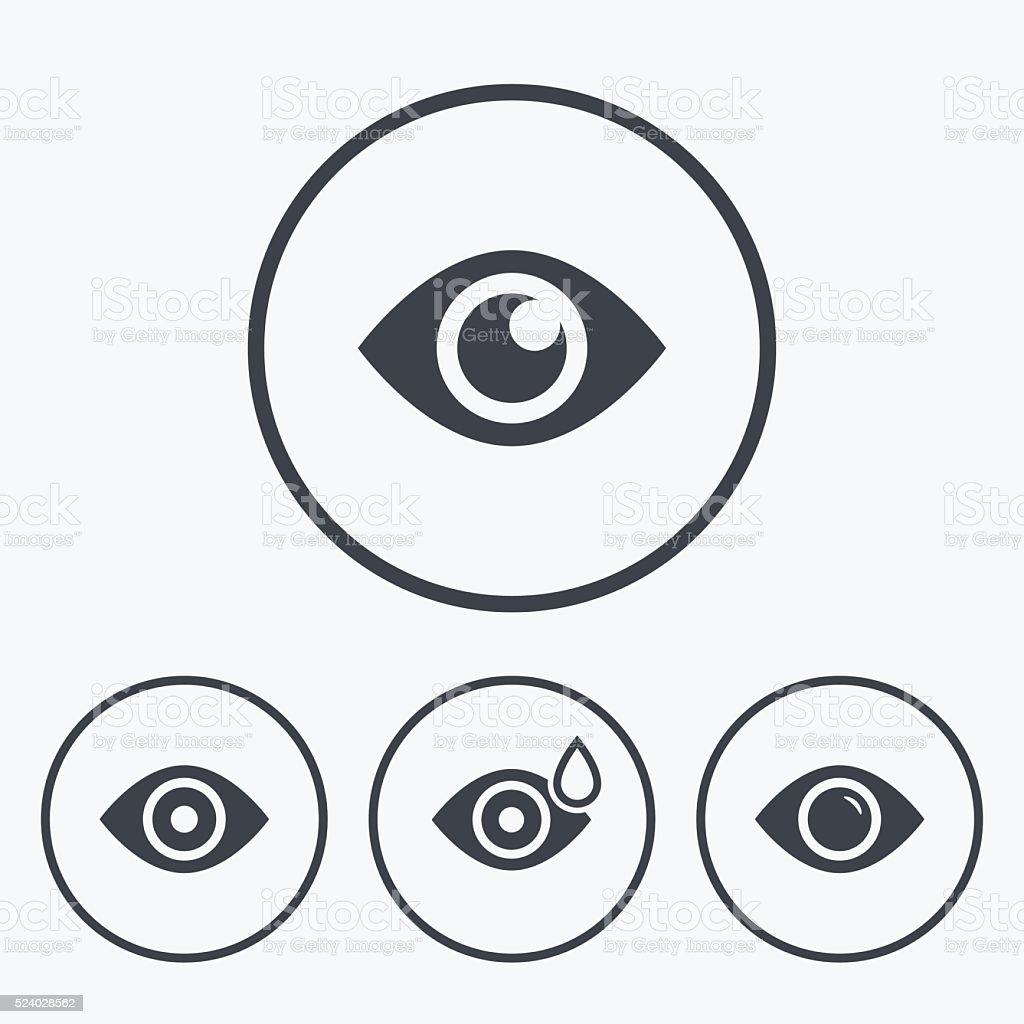Eye signs. Eyeball with water drop symbols. vector art illustration