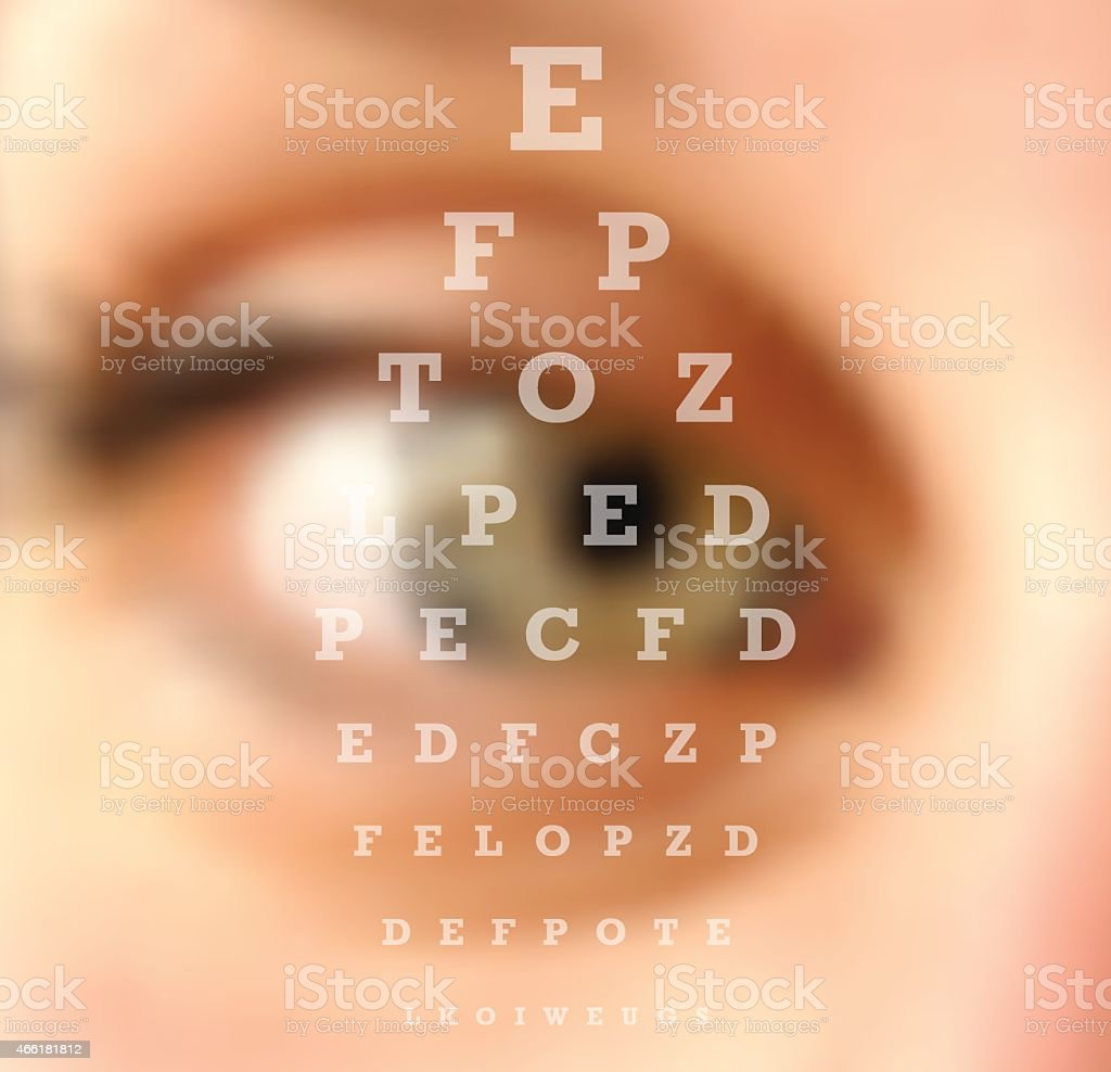 Eye test vision chart blurred effect vector art illustration