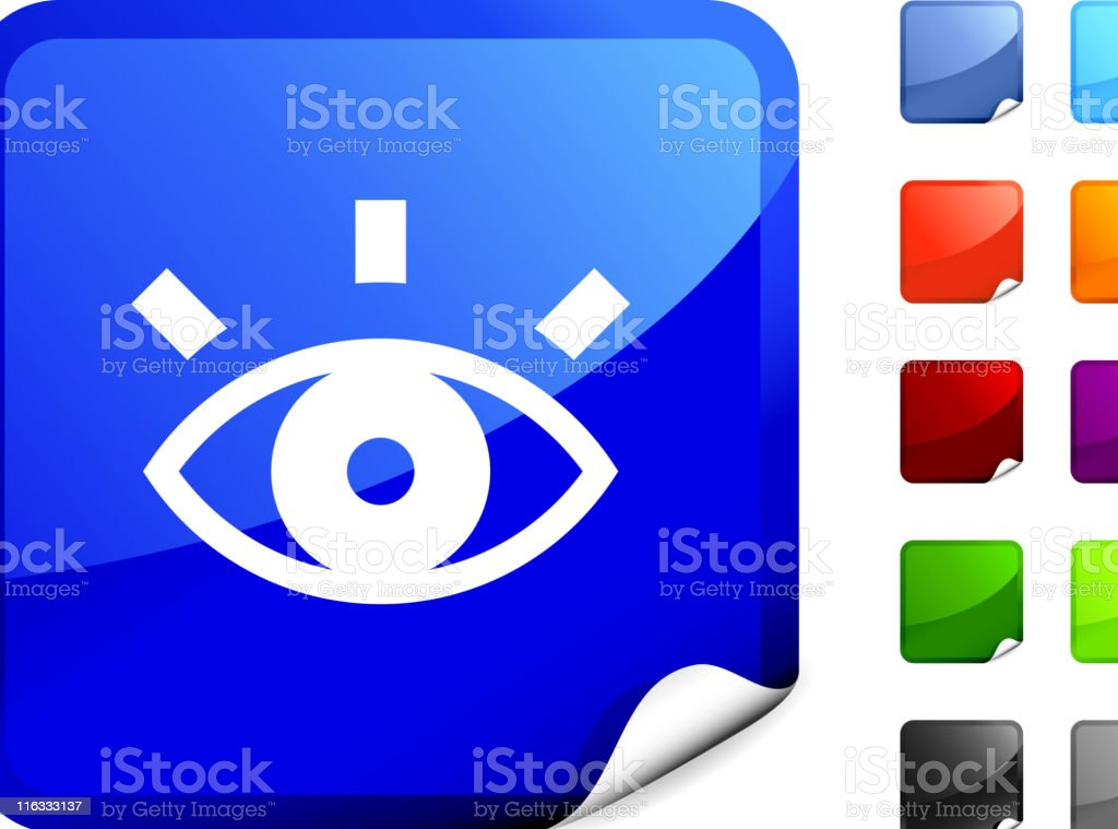 Eye, vision royalty free vector art on Blue Sticker royalty-free stock vector art