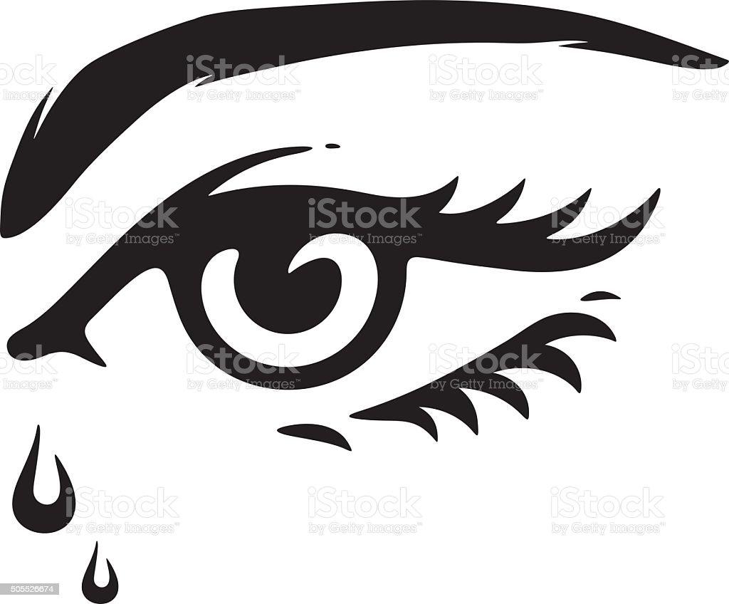 Eye with a tears vector art illustration